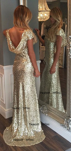 Sheath Cap Sleeveless Gold Sequins Prom Dress,Cheap Prom Dresses,PDY0641