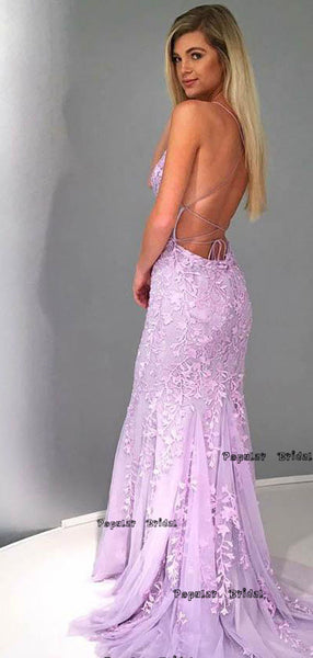 Sexy Backless Blue Lace Mermaid Scoop Long Prom Dresses,Cheap Prom Dresses,PDY0654