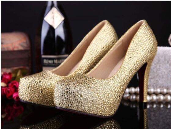 2017 Rhinestone High Heels Platform Shoes Women Pumps Party Wedding Shoes, S034