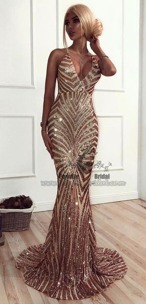 Sexy V-neck Mermaid Special Sequin Prom Dresses, Backless Prom Dresses, Long Prom Dresses, BG0388