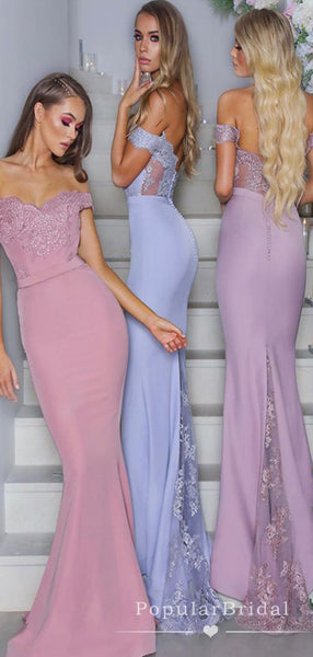 Sexy Mermaid Off The Shoulder Lace Sweep Train Bridesmaid Dresses With Beading,POWG0040