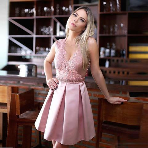Pink Lace Satin V-neck Sleeveless Rhinestone Belt Cute Popular Homecoming Dresses , HD028