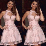 Halter Pink Lace Appliques See Through Tulle Sweet 16  Popular Affordable Homecoming Dresses, HD072