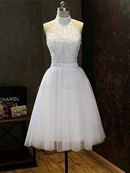 A-line Halter Beaded Top Tulle Hem Homecoming dresses, Open-back Short Dress, EPR0001