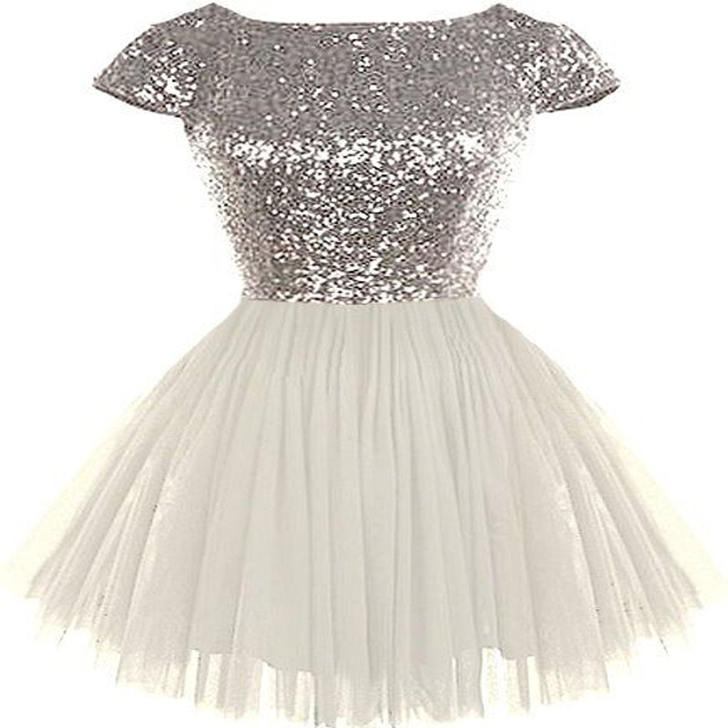 4b200b67d4bd Silver Sequin Top White Tulle Cute Homecoming Dresses, Popular Cheap Short Prom  Dresses, HD040