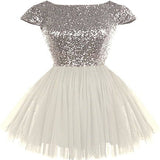 Silver Sequin Top White Tulle Cute Homecoming Dresses, Popular Cheap Short Prom Dresses, HD040