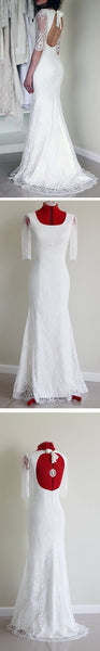 Popular Half Sleeve Sexy Long Mermaid Open Back White Lace Wedding Party Dress, BG0186