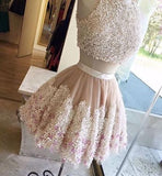 2 Pieces Lace Appliques Blush Pink Cute Homecoming Dresses, Cheap Popular Homecoming Dresses , HD027