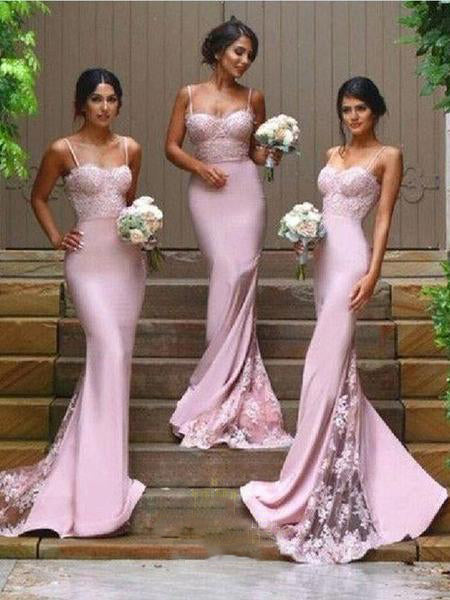 2019 Newest Scalloped Lace Top Spaghetti Satin Mermaid Sexy Full Gown with Trailing, Bridesmaid Dresses,WGY0445