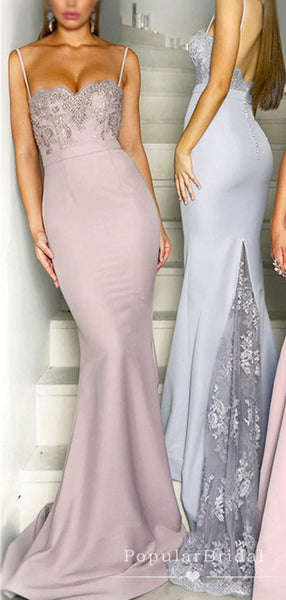 Mermaid Sweetheart Spaghetti Straps Cheap Long Bridesmaid Dresses With Lace,POWG0042