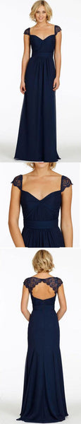 Cap Sleeve Open Back Lace Sweetheart Chiffon Navy Blue Formal Cheap Bridesmaid Dresses, BG0035