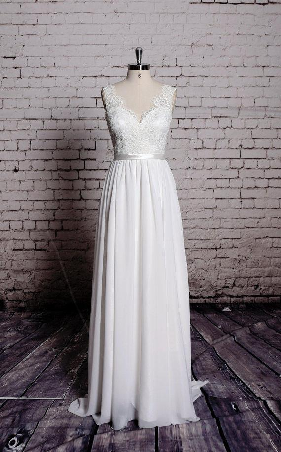 Simple Lace V Neck Cheap Beach Wedding Dresses Online, WD384