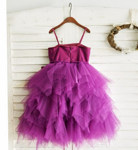 Spaghetti Plum Tulle Flower Girl Dresses, Cheap Little Girl Dresses, FG079