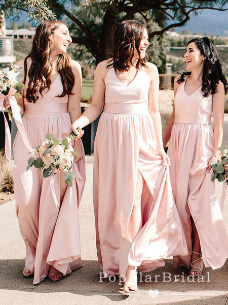 A-Line V-Neck Spaghetti Straps Light Pink Chiffon Long Bridesmaid Dresses With Slit,POWG0044