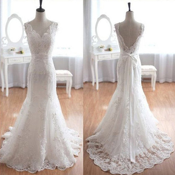 Popular Elegant V-Neck Long Mermaid White Lace Bridal Gown, Wedding Party Dresses , BG0185
