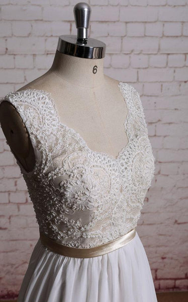 Lace V Neck A-line Cheap Beach Wedding Dresses Online, WD386