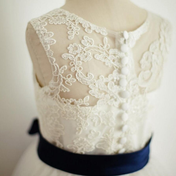 Illusion Lace Tulle Flower Girl Dresses with Navy Belt, Affordable Flower Girl Dresses, FG083