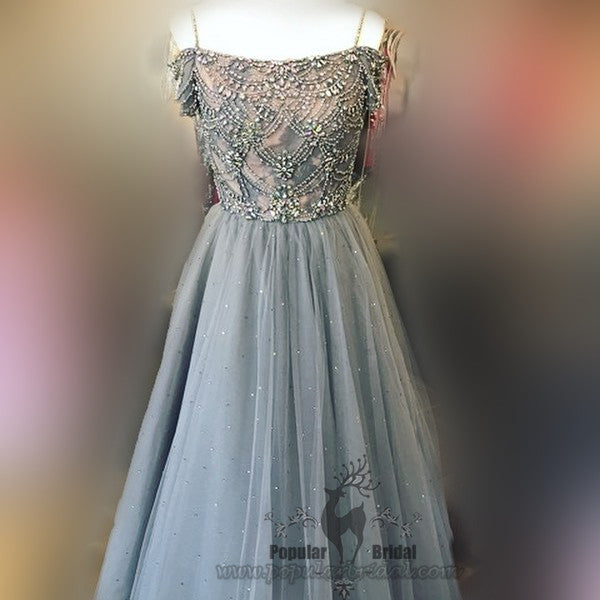 Off Shoulder Rhinestone Beaded Prom Dresses, Sparkle Tulle Prom Dresses, Prom Dress, BG0381