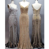 Spaghetti Luxury Beaded Long Mermaid Prom Dresses, Popular Evening Gown, BG0362