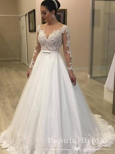 See Through A-Line Round Neck Long Sleeves Tulle Long Wedding Dresses With Lace,POWD0004