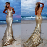 Spaghetti Gold Sequin Cross Back Mermaid Beaded Sexy Long Prom Dresses, Prom Dresses, BG0372