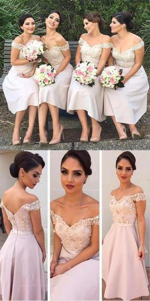 Off Shoulder Knee Length Appliques Cute Bridesmaid Dresses, BG0095