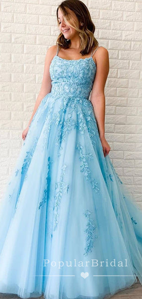 A-Line Spaghetti Straps Cross Back Blue Tulle Long Prom Dresses With Lace,POPD0005