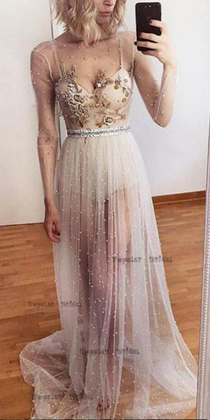 A-line Long Sleeve Ivory Tulle Evening Dresses,Cheap Prom Dresses,PDY0631