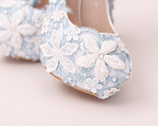 Handmade High Heels Round Toe Blue Lace Crystal Wedding Shoes, S0040