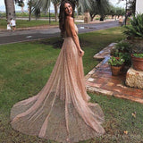 Shinning Spaghetti Straps V-neck Tulle Evening Dresses ,Cheap Prom Dresses,PDY0602