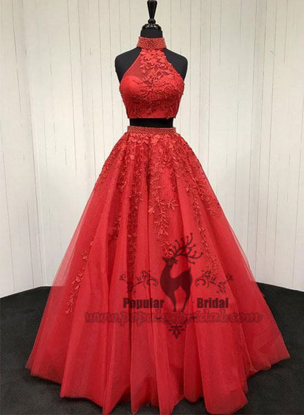 2 Pieces Red Lace Tulle Prom Dresses, A-line Popular Prom Gown, Cheap Prom Dresses, BG0389
