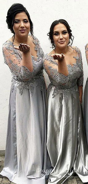 A-Line V-Neck Long Sleeves Gray Lace Cheap Long Bridesmaid Dresses With Beading,POWG0050