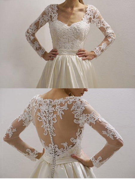 Cheap See Through Lace Long Sleeve Wedding Dresses Online, WD359
