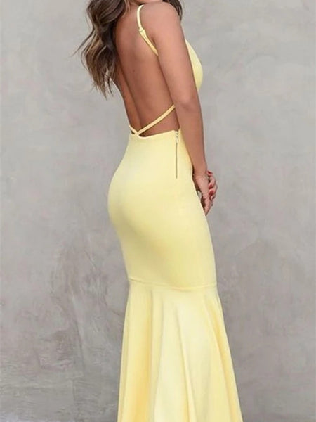 V-neck Satin Backless Sexy Evening Dress, Mermaid Pegeant Dress, Goose Yellow Prom Dresse with Trailing,PDY0694
