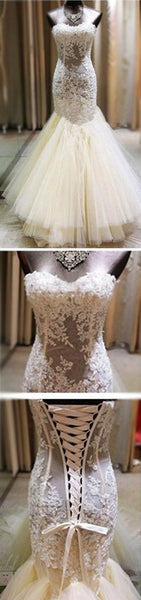 Sexy Ivory Lace Sweetheart See Through Mermaid Tulle Wedding Party Dresses, BG0191