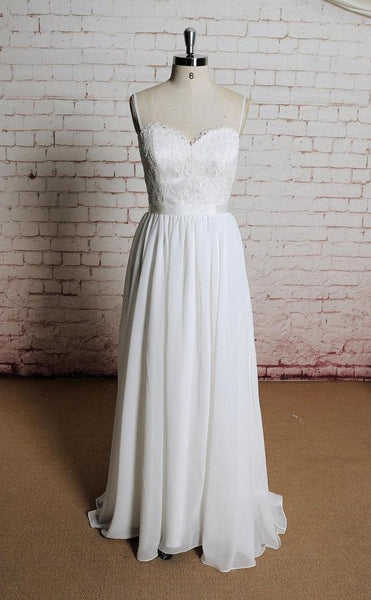 Simple Backless Lace Spaghetti Straps Cheap Beach Wedding Dresses Online, WD388
