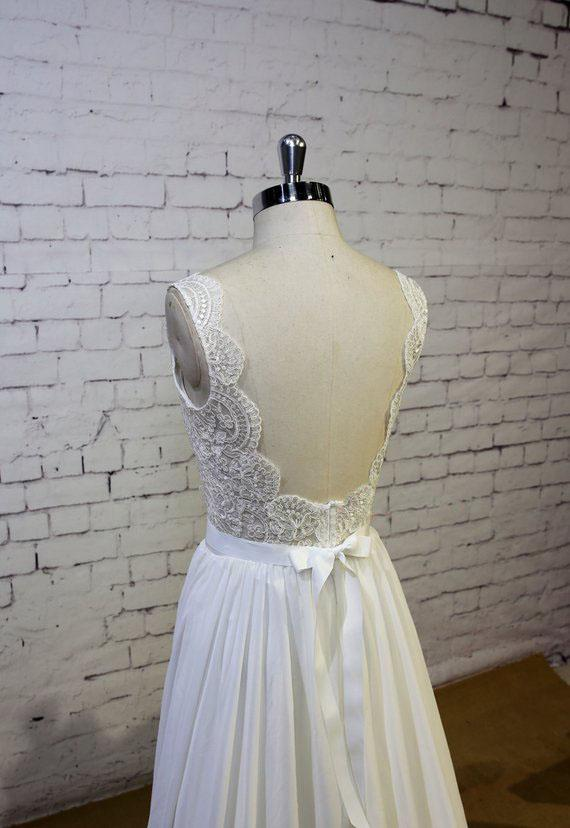 Sexy Backless Lace Cap Sleeves Cheap Beach Wedding Dresses Online, WD389