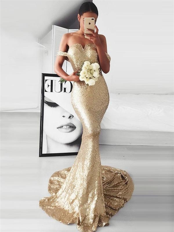 Off Shoulder Mermaid Sequin Prom Dresses, Sexy Prom Dresses, Cheap Prom Dresses, BG0436