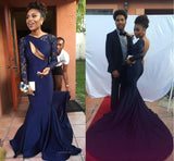 Gorgeous Navy Blue Sexy Backless Long Sleeve Lace Mermaid Long Prom Dresses, BG0009
