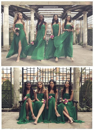 Side Split Straight Neckline Green Chiffon Pleating Long Wedding Guest Dresses, BG0099