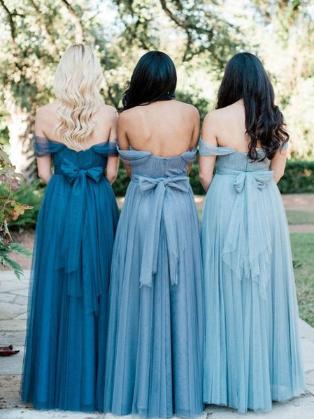 2019 Lastest Off-shoulder Tube Top Pleats Tulle Elegant Full Gown, Bridesmaid Dresses,WGY0441