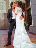 Off Shoulder Lace Long Sleeve Mermaid Wedding Dresses Online, WD364