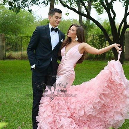 Pink Long Mermaid V-neck Floral Prom Dresses, Gorgeous Formal Evening Dresses, BG0377