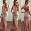 V-neck Unique Rose Gold Sequin Open Back Side Slit Mermaid Long Prom Dresses, BG0363