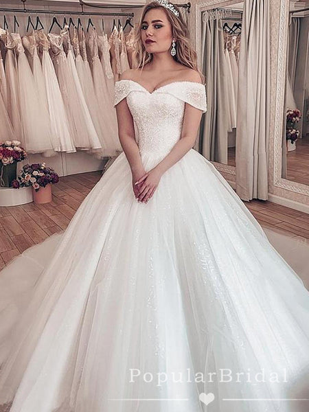 Shinny Ball Gown Off The Shoulder Affordable Long Wedding Dresses With Beading,POWD0005