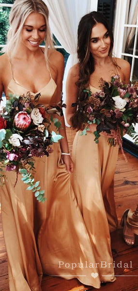 A-Line V-Neck Spaghetti Straps Gold Cheap Long Bridesmaid Dresses,POWG0006