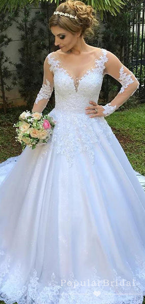 See Through Round Neck Long Sleeves Lace Ball Gown Wedding Dresses With Lace,POWD0006
