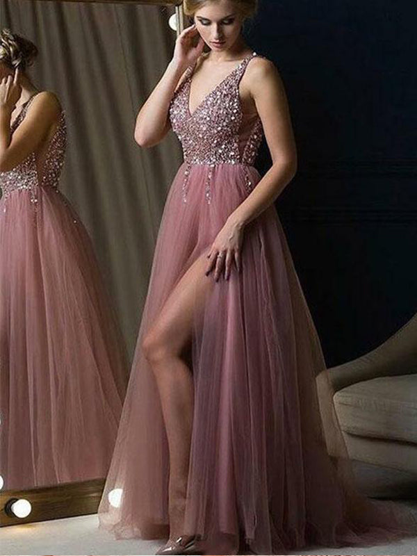 92dc86b1d80 A-line V-neck Dusty Rose Tulle Evening Dresses