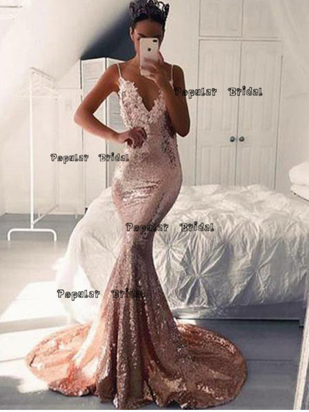 Sexy Mermaid Spaghetti Straps Pink Evening Dresses,Cheap Prom Dresses,PDY0626