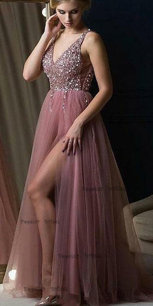 A-line V-neck Dusty Rose Tulle Evening Dresses,Cheap Prom Dresses,PDY0637